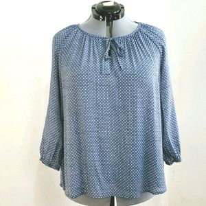 Fred David sz XL blue with white dots peasant top